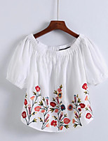 cheap -Women's Cute T-shirt - Floral Boat Neck
