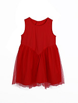 cheap -Girl's Daily Solid Dress, Rayon Spring Sleeveless Simple Cute Red