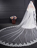 cheap -Two-tier Voiles & Sheers Embroidery Wedding Veil Cathedral Veils 53 Embroidery Tulle