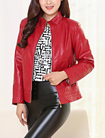 cheap -Women's Leather Jacket - Solid Colored Stand