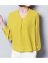 cheap -Women's Basic Lantern Sleeve Blouse - Solid Colored, Print V Neck