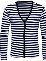 cheap -Men's Daily Simple Print Striped V Neck Sweater Cardigan, Long Sleeves Spring