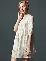 cheap -Women's Cute Sophisticated Loose Dress - Floral, Embroidered