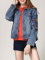 cheap -Women's Vintage Denim Jacket-Solid Colored,Pleated