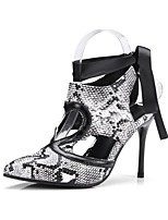 abordables -Mujer Zapatos Semicuero Primavera Otoño Pump Básico Tacones Tacón Stiletto Dedo Puntiagudo para Boda Fiesta y Noche Blanco Negro
