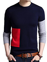 cheap -men's vintage long sleeves loose pullover - color block round neck