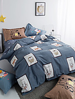 cheap -Duvet Cover Sets Floral 4 Piece 100% Cotton Reactive Print 100% Cotton 1pc Duvet Cover 2pcs Shams 1pc Flat Sheet