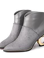 abordables -Femme Chaussures Cuir Cuir Nappa Automne Hiver Bottes à la Mode Confort Bottes Talon hétérotypique Bottine/Demi Botte pour Décontracté