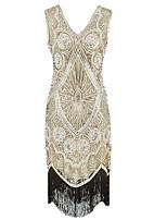 abordables -Gatsby le magnifique Rétro Gatsby Costume Femme Robes Noir Doré Vintage Cosplay Polyester Sans Manches