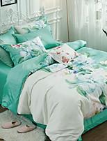 preiswerte -Bettbezug-Sets Blumen 4 Stück Polyester / Baumwolle Jacquard Polyester / Baumwolle 1 Stk. Bettdeckenbezug 2 Stk. Kissenbezüge 1 Stk.