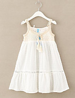 cheap -Girl's Daily Solid Dress, Cotton Spring Summer Sleeveless Cute Active White Gray