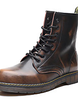 cheap -Men's Shoes Cowhide Spring Fall Combat Boots Comfort Boots Mid-Calf Boots for Casual Black Gray Brown