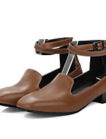 cheap -Women's Shoes PU Spring Fall Comfort Heels Chunky Heel for Casual Black Gray Brown