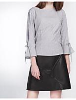 Недорогие -Жен. Рубашка Тонкие Полоски Вспышка рукава
