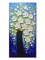 preiswerte -Handgemalte Abstrakt Blumenmuster/Botanisch Vertikal, Zeitgenössisch Modern Segeltuch Hang-Ölgemälde Haus Dekoration Ein Panel