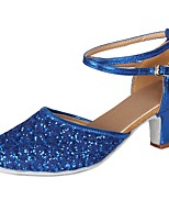 cheap -Women's Modern Paillette Leatherette Heel Party Professional Sequin Buckle Lace Cuban Heel Blue 2 - 2 3/4 Customizable