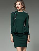 Недорогие -Жен. Изысканный Уличный стиль Оболочка Платье - Однотонный, С баской Мини