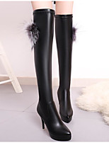 cheap -Women's Shoes PU Fall Winter Fashion Boots Comfort Boots Stiletto Heel Over The Knee Boots for Casual Black