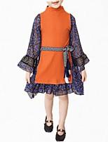abordables -Robe Fille de Quotidien Fleur Coton Polyester Printemps Automne Manches Longues simple Mignon Marine Jaune