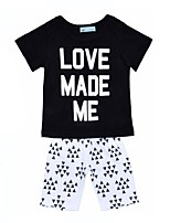 cheap -Unisex Daily Holiday Geometric Clothing Set, Cotton Spring Summer Short Sleeves Active Black