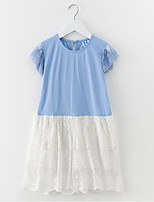 cheap -Girl's Daily Solid Dress, Cotton Spring Summer Sleeveless Simple Casual Blue