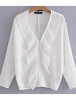 preiswerte -Damen Solide Hemd, V-Ausschnitt