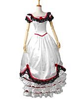 economico -Vittoriano Rococò Costume Vestiti Stile Carnevale di Venezia Vestito da Serata Elegante Rosso e Bianco Vintage Cosplay Raso elasticizzato