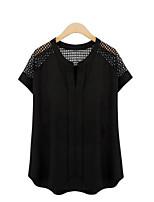 preiswerte -Damen Solide T-shirt Ausgehöhlt