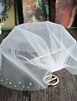 cheap -One-tier Euramerican Wedding Veil Blusher Veils 53 Crystals/Rhinestones Tulle