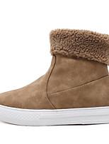 preiswerte -Damen Schuhe PU Winter Herbst Springerstiefel Komfort Stiefel Niedriger Heel Booties / Stiefeletten für Normal Schwarz Hellbraun