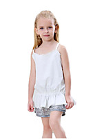 cheap -Girls' Daily Solid Colored Clothing Set, Cotton Polyester Summer Sleeveless Cute Basic White