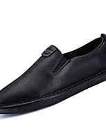 cheap -Men's Shoes Nappa Leather Spring Fall Comfort Loafers & Slip-Ons for Outdoor Black Gray Khaki