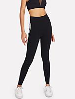 abordables -Mujer Deportivo Legging - Letra, Estampado Media cintura
