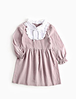cheap -Girl's Daily Solid Dress, Cotton Spring Summer Long Sleeves Simple Active Blushing Pink
