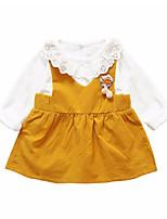 cheap -Girls' Daily Solid Clothing Set, Polyester Spring Long Sleeves Simple Orange Blushing Pink Yellow Light Green
