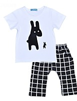 cheap -Unisex Daily Holiday Print Clothing Set, Cotton Spring Summer Short Sleeves Casual Black