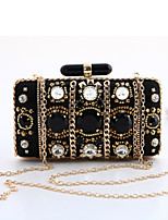 cheap -Women's Bags Polyester Evening Bag Rivet Crystal Detailing for Wedding Event/Party All Seasons Black