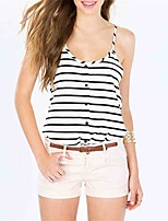 cheap -Women's Active Cotton Tank Top - Striped, Backless