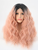 cheap -Synthetic Lace Front Wig Water Wave Ombre Hair Pink Women's Lace Front Natural Wigs Mid Length Synthetic Hair