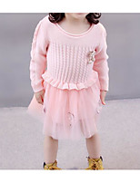cheap -Girl's Daily Solid Dress, Cotton Spring Summer Long Sleeves Cute Casual Green Blushing Pink
