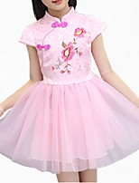 cheap -Girl's Daily Floral Dress, Cotton Polyester Spring Summer Short Sleeves Simple Cute White Blushing Pink