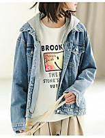 baratos -Mulheres Jaqueta jeans Sólido Pregueado