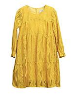 Недорогие -Девичий Платье Повседневные Хлопок Однотонный Весна Лето Длинный рукав На каждый день Активный Желтый