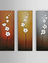 cheap -Hand-Painted Abstract Floral/Botanical Vertical, Comtemporary Modern Canvas Oil Painting Home Decoration Three Panels