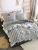 cheap -Duvet Cover Sets Lines / Waves 4 Piece Poly/Cotton 100% Cotton Reactive Print Poly/Cotton 100% Cotton 1pc Duvet Cover 2pcs Shams 1pc Flat