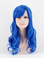 cheap -Synthetic Wig Loose Wave Blue Women's Capless Natural Wigs Mid Length Synthetic Hair