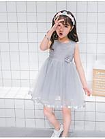 cheap -Girl's Daily Holiday Solid Dress, Cotton Nylon Summer Sleeveless Cute Active Gray