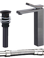 cheap -Contemporary Centerset Widespread Ceramic Valve Single Handle One Hole Oil-rubbed Bronze, Faucet Set