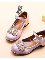 cheap -Girls' Shoes PU Spring Fall Tiny Heels for Teens Comfort Heels for Casual Silver Purple Pink