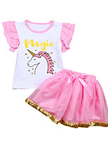 cheap -Girls' Daily Print Clothing Set, Cotton Polyester Spring Summer Short Sleeves Cute Active Blushing Pink